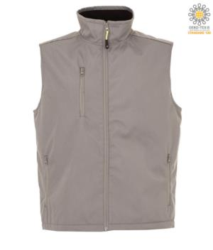 nylon work vest with fleece lining in grey with three pockets