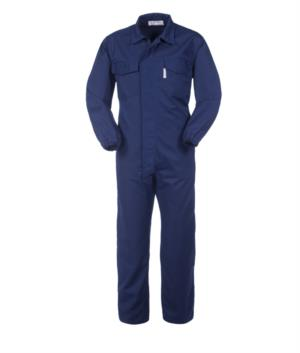 Antacid and antistatic coverall, zipped and Velcro fastened, elasticated waist, multi-pocket, elasticated cuffs, certified EN 13034, EN 1149-5, color blue