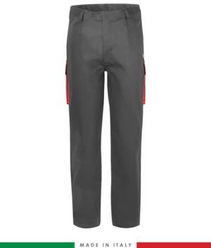 Two-tone multipro trousers, multi-pocket, coloured profile on the pockets, Made in Italy, certified EN 11611, EN 1149-5, EN 13034, CEI EN 61482-1-2:2008, EN 11612:2009, color grey and red