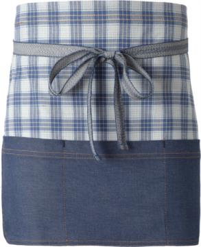 Chef apron, front closure at the waist with ribbon, color blue check