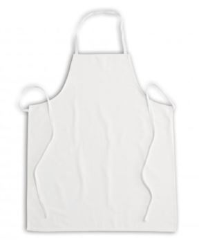 apron without pockets, with bib, cotton filzband at neck and hips, stitching with polyester thread, color white