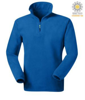 Anti pilling microfleece in 100% Polyester with short zip and elasticated fabric at the wrists, colour royal blue