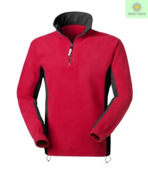 Two tone fleece anti pilling short zip, two pockets. Color: Red/Black