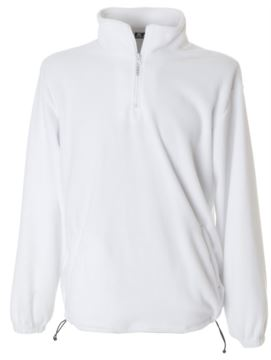 Short anti pilling zip fleece, contrasting inner collar, two covered pockets with zip, white elastic cuffs