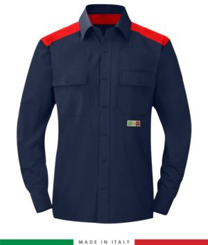 Two-tone multi-pro shirt, snap button closure, two chest pockets, coloured inserts on shoulders and inside collar, certified EN 1149-5, EN 13034, UNI EN ISO 14116:2008, color  navy blue /red
