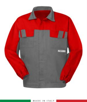 Multipro two-tone jacket, covered button closure, two chest pockets, elasticated cuffs, colour inserts on shoulders and inside collar, Made in Italy, certified EN 11611, EN 1149-5, EM 13034, CEI EN 61482-1-2:2008, EN 11612:2009, colour grey/red