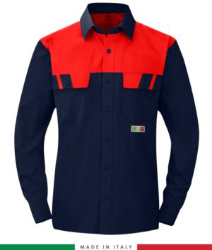 Two-tone multipro shirt, long sleeves, two chest pockets, Made in Italy, certified EN 1149-5, EN 13034, EN 14116:2008, color navy/blue/red