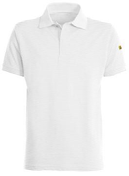 ESD antistatic polo shirt, short sleeve with 3 hidden buttons, certified En 1149-5, EN 61340-5-1:2007, color white