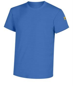Antistatic short-sleeved T-Shirt, crew neck, certified EN 1149-5, EN 61340-5-1:2007. Colour Medical light blue