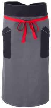 Chef apron, front fastening at waist with red ribbon, two front pockets, color grey blue