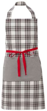 Chef apron, front closure with red ribbon, single side pocket, color check brown