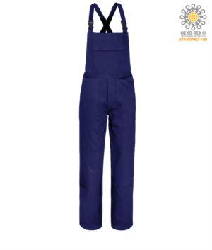 Fireproof bib and dungarees, large chest pocket, two side pockets, back pocket, adjustable straps, navy blue colour. CE certified, NFPA 2112, EN 11611, EN 11612:2009, ASTM F1959-F1959M-12