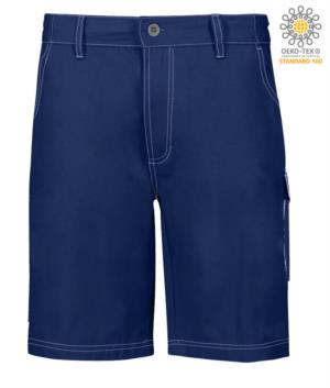 Multi pocket shorts with contrasting stitching. Color: Navy Blue