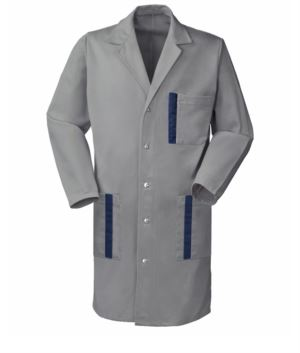 grey work coat with snap buttons