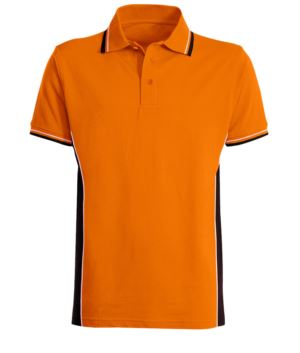 Two tone short sleeved polo shirt with two tone double piping on collar, bottom sleeve and side band. Colour orange/black