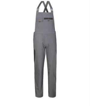 Two tone work overalls with contrasting colour inserts, two chest pockets. Colour grey black