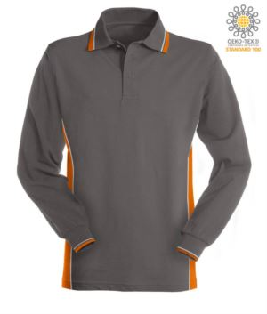 Two tone long sleeve polo, double piping on the collar, cuffs and side band. Colour grey/orange