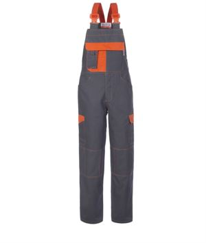 Two tone multi pocket dungarees with contrasting stitching. Colour grey and orange