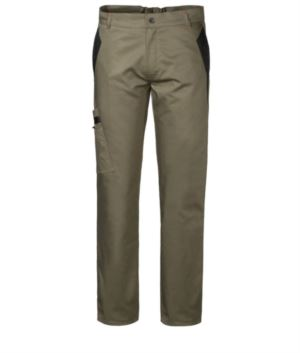 Two-tone multi-pocket work trousers with double pocket on the right leg, colour green/black