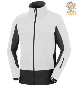 Two tone, waterproof, softshell jacket with concealed hood. Colour white & black