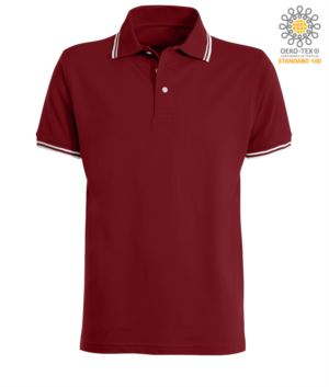 Two tone work polo shirt with contrasting collar and sleeve hem. Colour: Burgundy / White