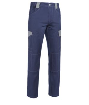 Two tone multi pocket work trousers in non-shrinkable cotton with contrasting details and stitching. Colour Blue and grey