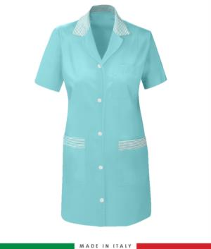 Women short sleeved working shirt sugar paper colored