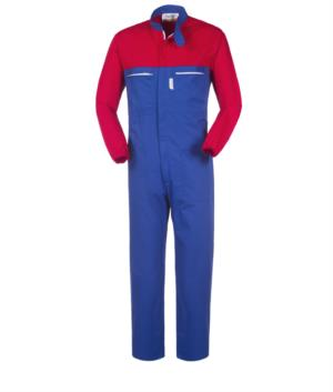 Two-tone full length workwear, Korean collar, contrasting sleeves, contrasting zipper, colour royal blue and red