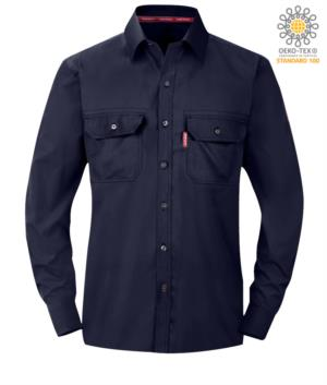 Fireproof shirt, cuffs with adjustable buttons, chest pockets, cooor navy blue. ASTM certified F1506-10a, NFPA 2112, NFPA 70E, EN 11612:2009, ASTM F1959-F1959M-12