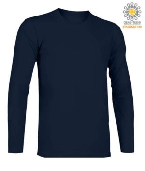 T-Shirt with long sleeves, crew neck, 100% Cotton, colour navy blue
