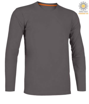 Women long sleeved crew neck cotton T-shirt. Colour smoke