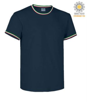 Round neck work T-shirt, collar and sleeve bottom in contrasting and stripes of color on the shoulders, color navy blue