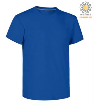 Man short sleeved crew neck cotton T-shirt, color royal blue