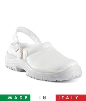 Calzatura sabot in microfibra, traspirante ed imbottito, soletta bianca. antistatica, antimicotica, antibatterica e traspirante, colore bianco