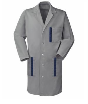 camice da lavoro grigio con bottoni a pressione