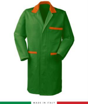 camice da lavoro per uomo 100% cotone massaua verde/arancio