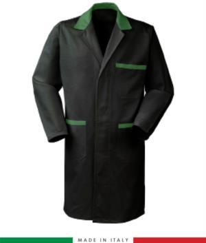 Camice da lavoro 100% cotone a manica lunga colore nero/verde