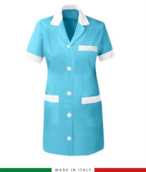 Camice da lavoro a manica corta da donna azzurro
