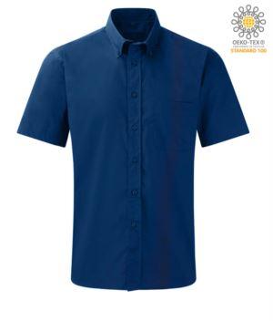 camicia uomo per divisa da lavoro a manica corta colore blu