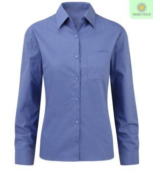 Camicia per divisa elegante a manca lunga colore blu da donna