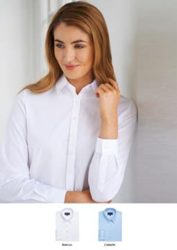 Camicia elegante da donna, poliestere e cotone, in tessuto easy iron e vestibilità easy fit. Ideale per receptionist, hostess, hotellerie.