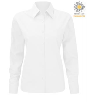 Camicia da divisa elegante da donna a manica lunga 100% cotone