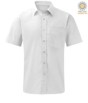 Camicia da uomo bianca a manica corta per divisa da lavoro