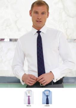 Camicia da uomo a manica lunga per divisa elegante da lavoro. Colori bianco e celeste, tessuto 100% cotone easy iron.