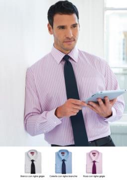 Camicia elegante a righe bicolore, tessuto in poliestere e cotone, con caratteristiche easy iron. Vendita all'ingrosso. Ottieni un preventivo gratuito