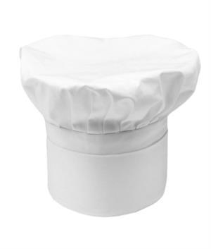 Cappello da cuoco, doppia fascia di tessuto, con parte superiore inserita e cucita a pieghette, colore bianco