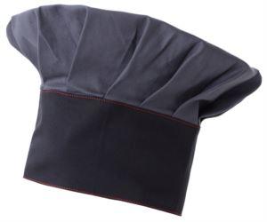 Cappello da cuoco, doppia fascia di tessuto, parte superiore inserita e cucita a pieghette, colore grigio blu