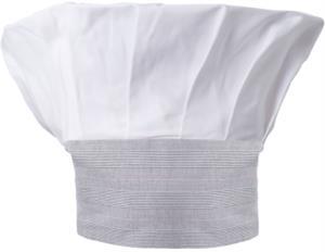 Cappello da cuoco, doppia fascia di tessuto con parte superiore inserita e cucita a pieghette, colore bianco galles