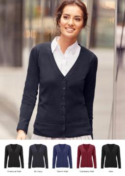 Cardigan donna con scollo a V, modello taglio classico, costine sul collo e polsini, apertura centrale, tessuto cotone e acrilico