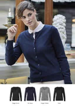 Women cardigan with crew neck, ribbed neck, cuffs and bottom hem, front buttoning, wool and polyacrylic fabric.
